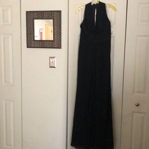 David's Bridal black chiffon bridesmaid dress